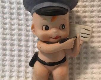 Vintage KEWPIE POLICE Officer Policeman  writing ticket ceramic figurine