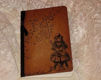 Moleskine journal, Handmade Designed Moleskine Wish Notebook Altered with Alice in Wonderland