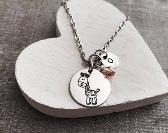Georgie the Giraffe, Giraffe, Giraffe Necklace, Giraffe Jewelry, Tiny Giraffe, Teenager, Silver Necklace, Charm Necklace, Silver Jewelry
