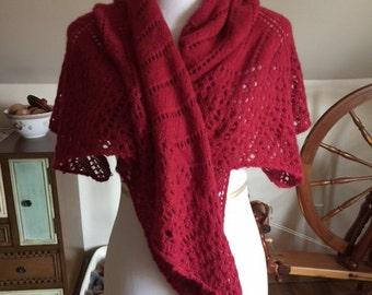 Hand-knit Lace Angora Shawl