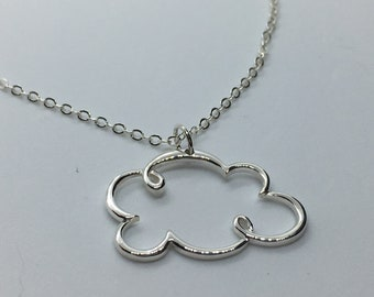 Solid Sterling Silver Cloud Necklace. Add A Charm, Large Version Charm Necklace or Pendant. Cloud Jewelry, Cloudy Necklace. Great Gift!