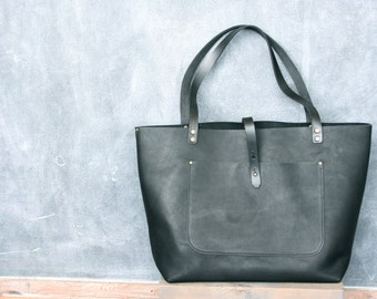 Leather Tote, in Brown or Black