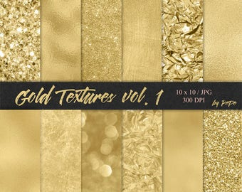 Gold digital papers, foil background, glitter textures, realistic gold, glam patterns, gold foil, gold glitter, download