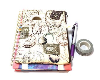 Journal Pouch Planner Pouch Pencil Pouch Planner Band Planner Accessory Bag - Tan and Brown Travel Stamps 9300