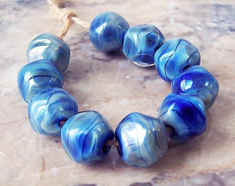 Night Sky. Silver Glass Lampwork Beads (5 pcs). Pale and Deep Blue Lampwork Nuggets. Blue Silver Glass Beads. Made to order.