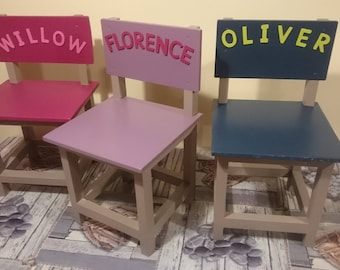 Children's chairs, customised with name, any colours