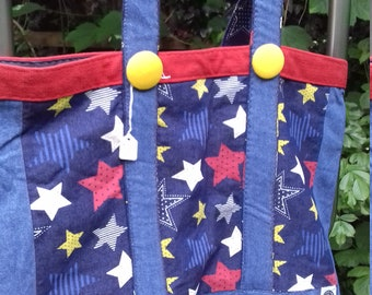 Fully lined chambray denim tote hand made in England