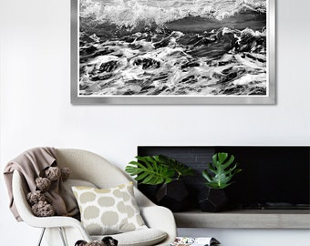 Large coastal wall art Black and white Ocean waves print Abstract Wave art, Water print, Sea poster, large surf photography, 12x16, 24x24