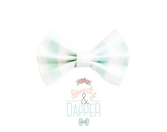 Aqua and White Striped Fabric Bow Hair Clip or Bow Tie - Henry Bow - Baby Blue Bow Tie - dainty and Dapper