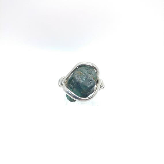 Rough Tourmaline Ring | Sterling Silver Ring Sz 9.5 | Raw Tourmaline Ring | Uncut Gemstone Ring | Tourmaline Crystal | October Birthstone