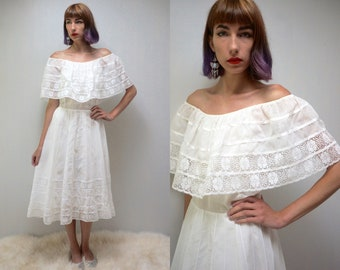 MEXICAN WEDDING DRESS White Mexican Dress White Cotton Dress 70s Wedding Dress Boho Wedding Dress Off Shoulder Wedding Dress Shoulder Ruffle