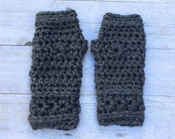 Grey Fingerless Gloves, Grey Mittens, Grey Gloves, Grey Crochet Mittens,Dark Grey Gloves, Grey Crochet Gloves,Grey Wristwarmers,THE STARLING