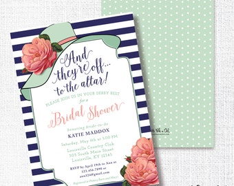Big Hat Bridal Shower Invitation, Printable,  They're Off To The Altar, Brunch, Wedding Shower, Luncheon, Kentucky Derby, Horse Race, Mint