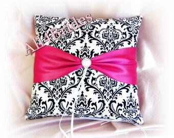 Damask wedding ring cushion, fuchsia pink Madison damask ring bearer pillow