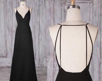 Bridesmaid Dress Black Chiffon Dress,Wedding Dress,Spaghetti Strap Formal Dress,Ruched V Neck Backless Prom Dress,A-line Maxi Dress(L290B)