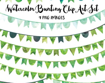 Green Bunting Clip Art, Instant Download, Green Watercolor Clipart, Banner Flag Clipart, Commercial Use