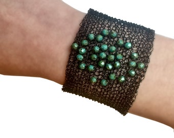 Black Knitted Cuff bracelet with Olive green beads, Trendy Wide cuff flower shaped beads bracelet, Broad Handmade knitted cuff