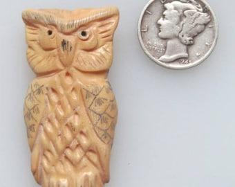 Antiqued Bone Owl Pendant Bead 28 x 60mm
