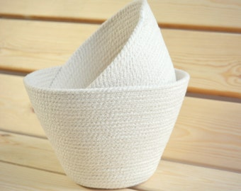 Natural basket, Natural home decor, Nursery basket, Pure white decor, Fruit bowl, Cotton rope bowl Kitchen decor,  Bread basket Summer decor