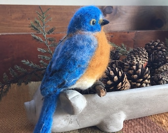 Needle felted Bluebird ornament. Handmade needle sculpted wool bird.