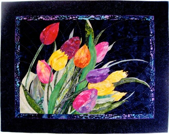 Art Quilt , Wind Tossed Tulips , Quilted Applique , Wall Hanging , Mixed Medium, Fiber Art by Sally Manke, Handmade, Floral Room Decor