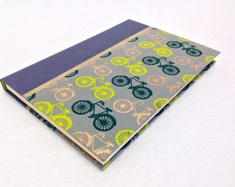 Handmade Journal with Bicycle Pattern