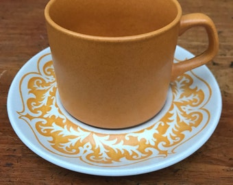 J&G Meakin Maidstone Castile Pattern Mustard Yellow Retro 70s Cup and Saucer