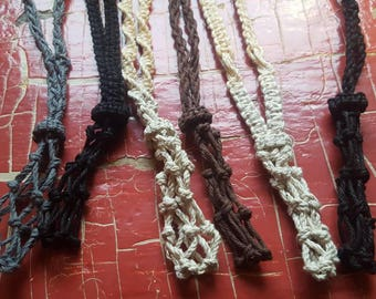 Interchangable Hemp Cord Crystal Carrier Pouch Necklaces - Custom Made to Order