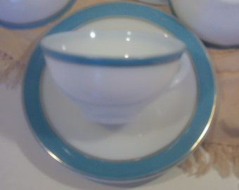 Pyrex White Turquoise and Gold Trim Cups and Saucers -  Set of 6