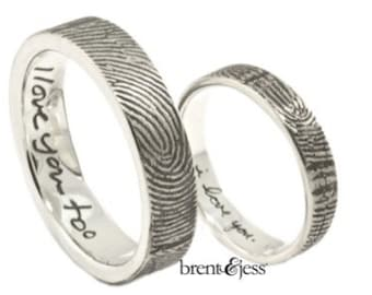 Love Note Fingerprint Wedding Ring Set with Wrapped Prints on the Outside
