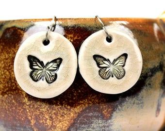 Butterfly Earrings in Tan