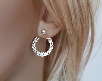 Art nouveau earrings, double sided earring, silver filigree earrings