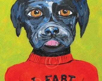 Labrador Retriever Art Print - Farting Dog - Bathroom Humor - Bathroom Print - Black Labrador Retriever Gifts, Funny Dog Art