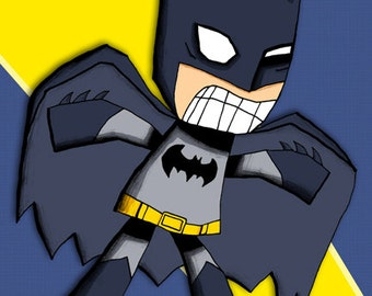 Batman Superhero Art Print Illustration Justice League