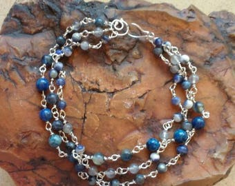 Blue bracelet - sea-bracelet-multi strands - Blue gemstones-silver-bohemian chic - bracelet-handmade - birthday gift - ready-to-ship.