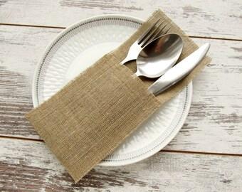 6 - Rustic burlap cutlery holders, wedding silverware holders