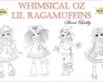 INSTANT DOWNLOAD Digi Doodle Download Stamp Whimsical Oz Lil Ragamuffin SET of 4 DIGIs By Sherri Baldy