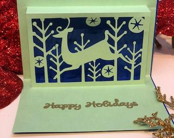 3x Handmade Christmas cards - Deer Sighting