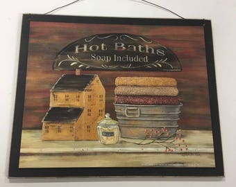 hot baths soap included outhouse bathroom decor wood sign country bath decorations