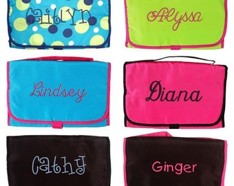 Personalized Cosmetic Makeup Travel Organizer Monogram Name Embroidery