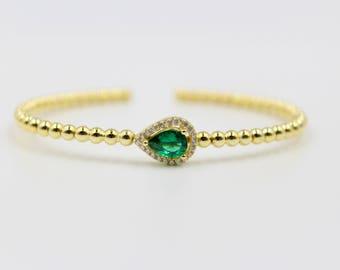 Solitaire Bracelet, Ethical Emerald, Emerald Green, Green Gemstone, Emerald Bracelet, Birthstone Bracelet, Green Birthstone