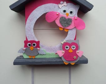 Pink and gray owls nest personalized baby gift