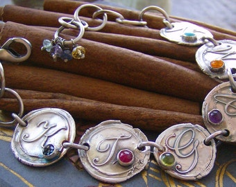 Vintage letters with gem stones...6 letter hand stamped fine silver wax seal style bracelet set with gem stones