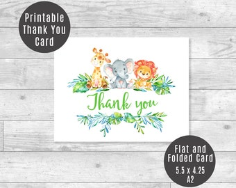 Safari Thank You Card, Baby Giraffe, Elephant, Lion Jungle Animals Baby Shower Printable Cards Flat & Folded A2 - ID01