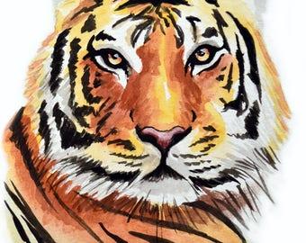 "Tiger cat watercolor print, 8 1/2"" x 11"" Print of my original cat painting / nature conservation African cat art"