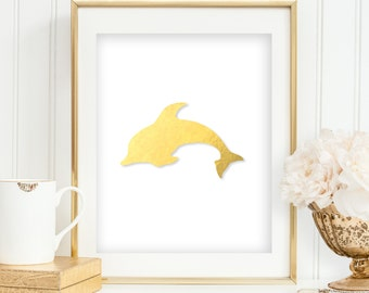 Gold Foil Dolphin Print Nautical Art Bathroom Decor Gold Foil Wall Art Print Coastal Decor Beach Vanity Bedroom INSTANT DOWNLOAD 0030