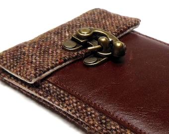 iPhone 6 / 7 / 7 Plus wallet  - brown tweed and brown leather