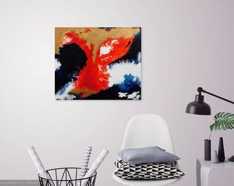 """Abstract Original Acrylic Painting 19"""" x 24"""" Blue Red Gold White Gallery Wrapped Canvas"""