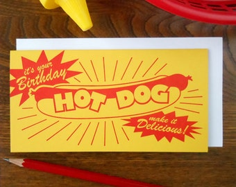 letterpress it's your birthday hot dog make it delicious greeting card vintage hot dog package inspired