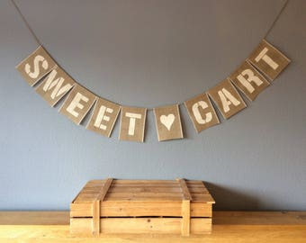 SWEET CART TROLLEY Wedding Party Bunting Banner. Hessian. Burlap